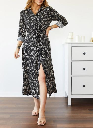 XHAN Desenli Gömlek Elbise 0Yxk6-43514-02 Siyah